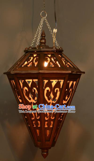 Asian Traditional Carving Wood Ceiling Lantern Thailand Handmade Lanterns Hanging Lamps