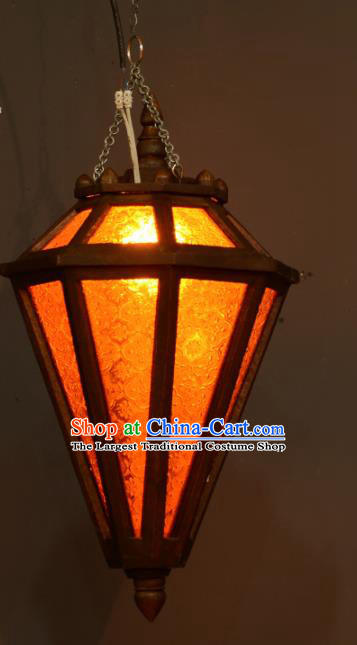 Asian Traditional Wood Grass Ceiling Lantern Thailand Handmade Lanterns Hanging Lamps