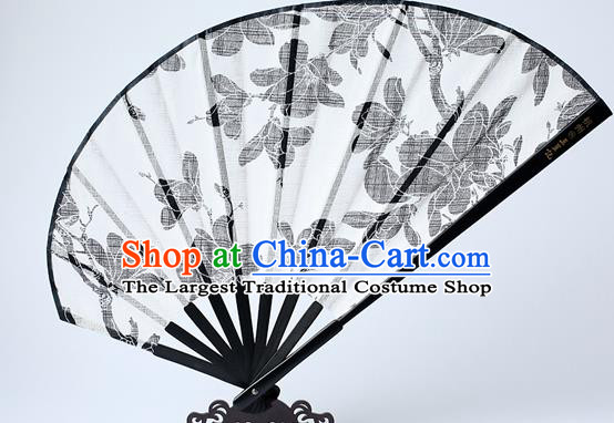 Traditional Chinese Handmade Printing Yulan Magnolia White Silk Folding Fan China Bamboo Fan Oriental Fan