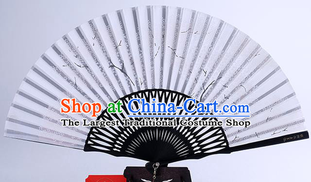 Traditional Chinese Handmade Printing White Silk Folding Fan China Bamboo Fan Oriental Fan