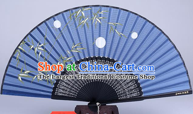 Traditional Chinese Handmade Printing Bamboo White Silk Folding Fan China Fan Oriental Fan