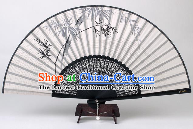 Traditional Chinese Handmade Printing Bamboo White Silk Folding Fan China Accordion Fan Oriental Fan
