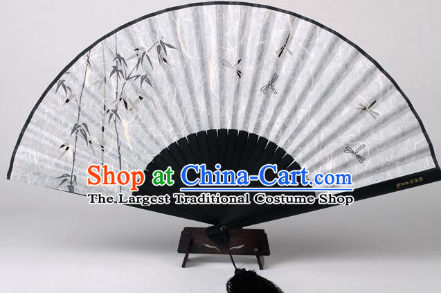 Traditional Chinese Handmade Printing Bamboo Dragonfly White Silk Folding Fan China Accordion Fan Oriental Fan