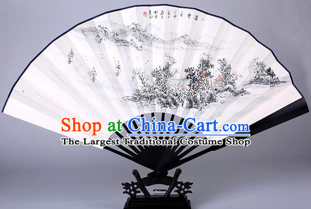 Traditional Chinese Handmade Painting West Lake Paper Folding Fan China Wood Accordion Fan Oriental Fan