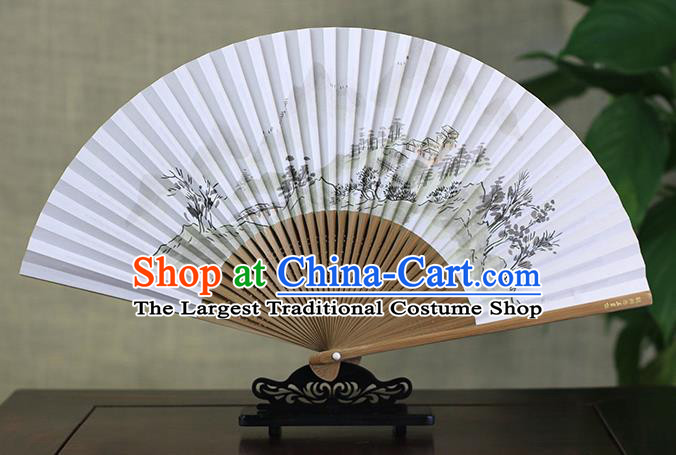 Traditional Chinese Ink Painting Mountain Peak Art Paper Fan China Bamboo Accordion Folding Fan Oriental Fan