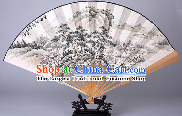 Traditional Chinese Handmade Ink Painting Landscape Paper Folding Fan China Accordion Fan Oriental Fan