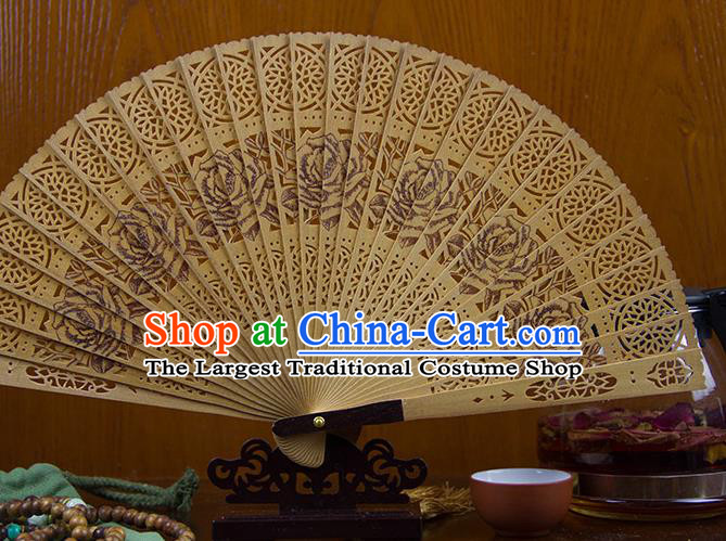 Traditional Chinese Hand Painting Roses Sandalwood Fan China Accordion Folding Fan Oriental Fan