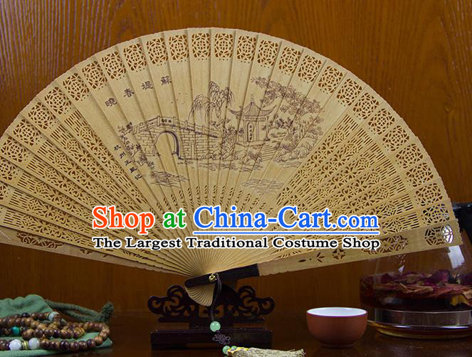 Traditional Chinese Hand Painting Su Causeway Sandalwood Fan China Accordion Folding Fan Oriental Fan