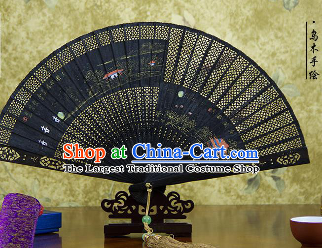 Traditional Chinese Hand Painting Landscape Ebony Fan China Accordion Folding Fan Oriental Fan
