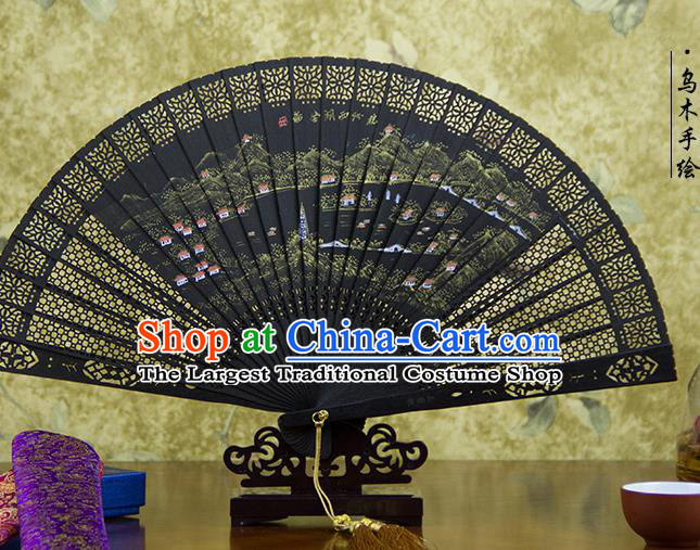 Traditional Chinese Hand Painting West Lake Landscape Ebony Fan China Accordion Folding Fan Oriental Fan