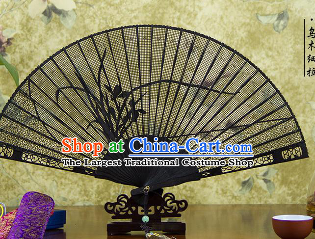 Traditional Chinese Hand Painting Orchid Ebony Fan China Accordion Folding Fan Oriental Fan