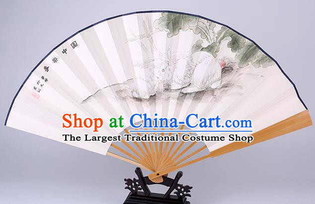 Traditional Chinese Hand Painting Rabbit Paper Fan China Bamboo Accordion Folding Fan Oriental Fan