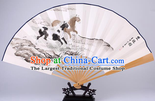 Traditional Chinese Hand Painting Horse Paper Fan China Bamboo Accordion Folding Fan Oriental Fan