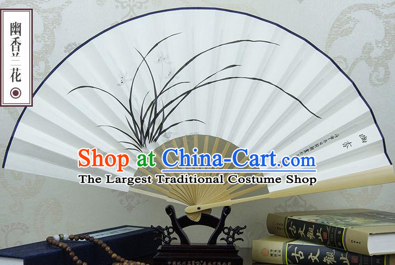Traditional Chinese Hand Painting Orchid Paper Fan China Accordion Folding Fan Oriental Fan