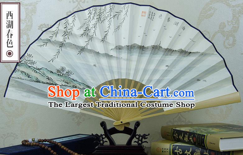 Traditional Chinese Hand Painting West Lake Spring Scenery Paper Fan China Accordion Folding Fan Oriental Fan