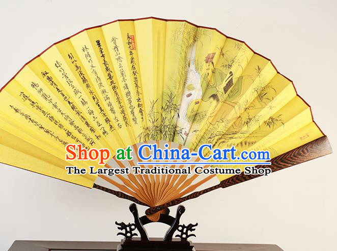 Traditional Chinese Hand Painting Lan Ting Preface Yellow Silk Fan China Accordion Folding Fan Oriental Fan