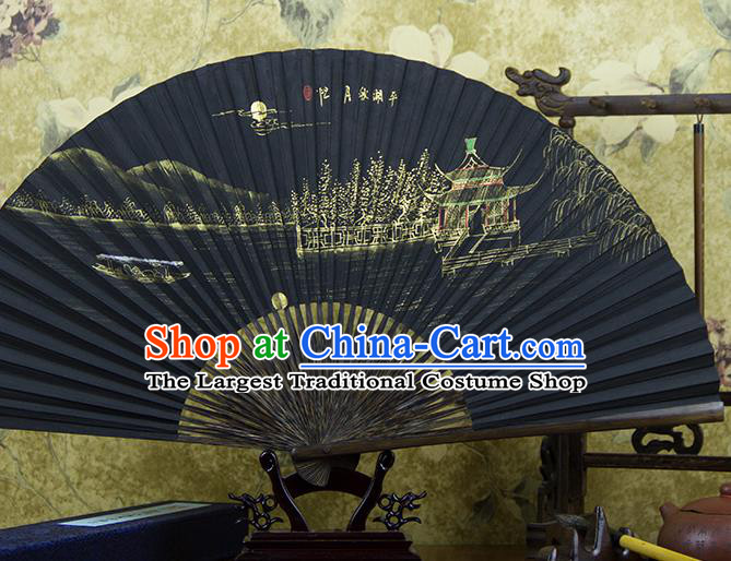 Traditional Chinese Hand Painting Moon View Mulberry Paper Fan China Accordion Folding Fan Oriental Fan