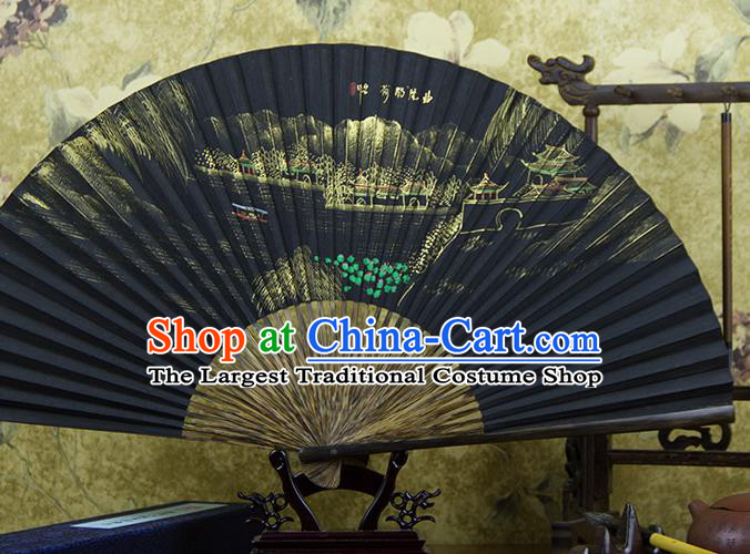 Traditional Chinese Hand Painting Lotus Pond Mulberry Paper Fan China Accordion Folding Fan Oriental Fan