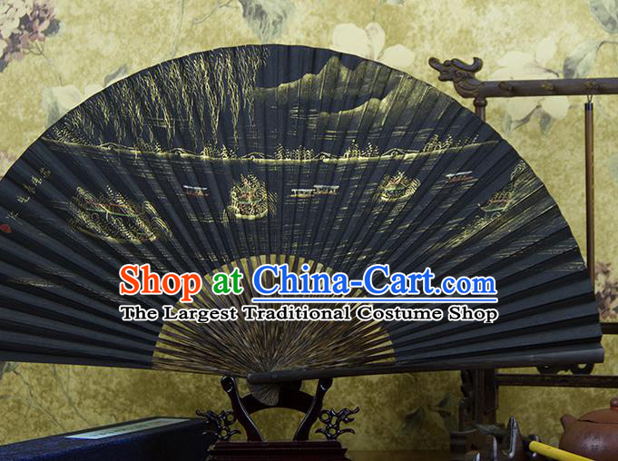 Traditional Chinese Hand Painting Su Causeway Mulberry Paper Fan China Accordion Folding Fan Oriental Fan