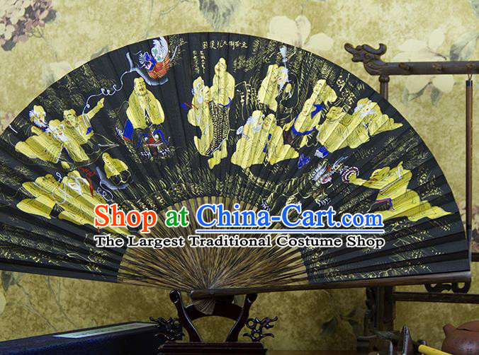 Traditional Chinese Hand Painting Eighteen Arhats Mulberry Paper Fan China Accordion Folding Fan Oriental Fan