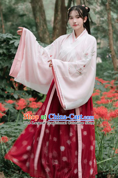 Traditional Chinese Jin Dynasty Royal Princess Red Dress Ancient Patrician Lady Historical Costumes for Women