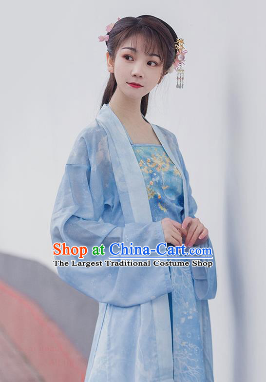 Traditional Chinese Ancient Maidservants Blue Hanfu Dress Song Dynasty Civilian Lady Historical Costumes for Women