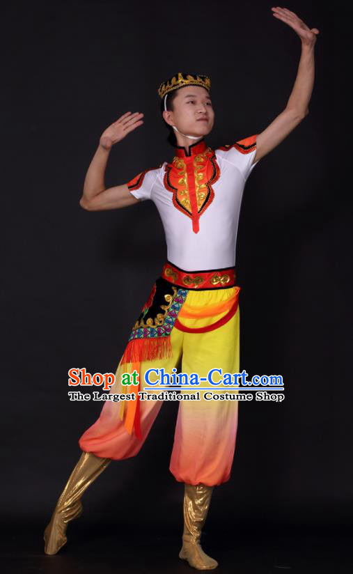 Chinese Traditional Xinjiang Uygur Dance Clothing China Uyghur Nationality Stage Performance Costume for Men
