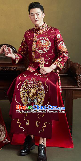 Chinese Traditional Embroidered Mandarin Jacket and Robe Wedding Tang Suit Ancient Bridegroom Costume for Men
