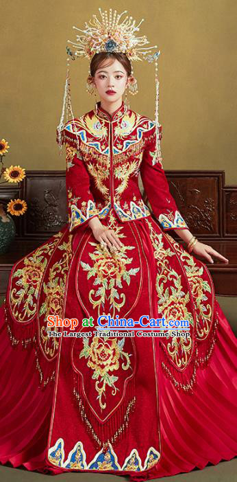 Chinese Traditional Embroidered Peony Red Xiuhe Suits Wedding Dress Ancient Bride Costume for Women