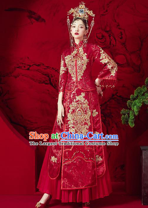 Chinese Traditional Embroidered Red Diamante Xiuhe Suits Wedding Dress Ancient Bride Costume for Women
