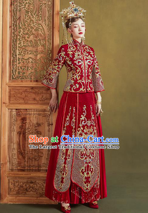 Chinese Traditional Embroidered Red Xiuhe Suits Wedding Dress Ancient Bride Costume for Women