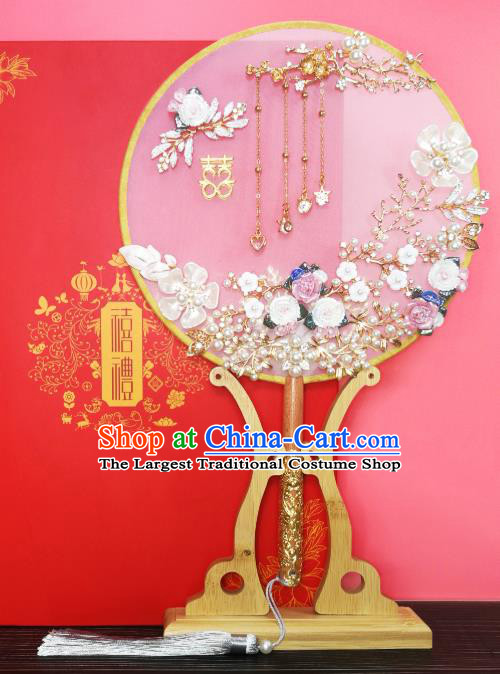 Chinese Traditional Hanfu Handmade Shell Palace Fans Classical Wedding Pomegranate Round Fan for Women