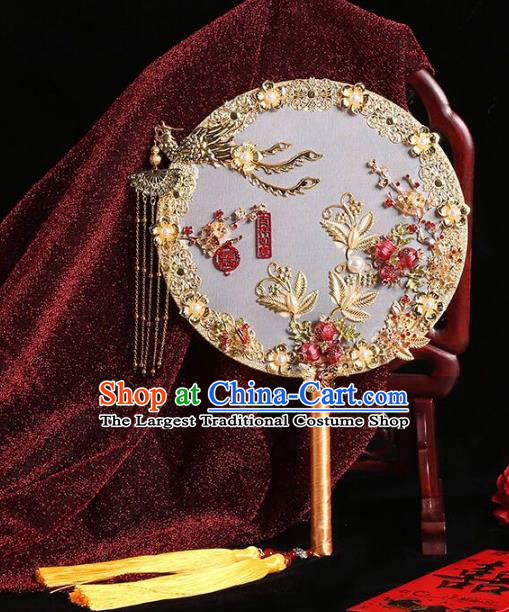 Chinese Traditional Handmade Hanfu Golden Phoenix Palace Fans Classical Wedding Round Fan for Women