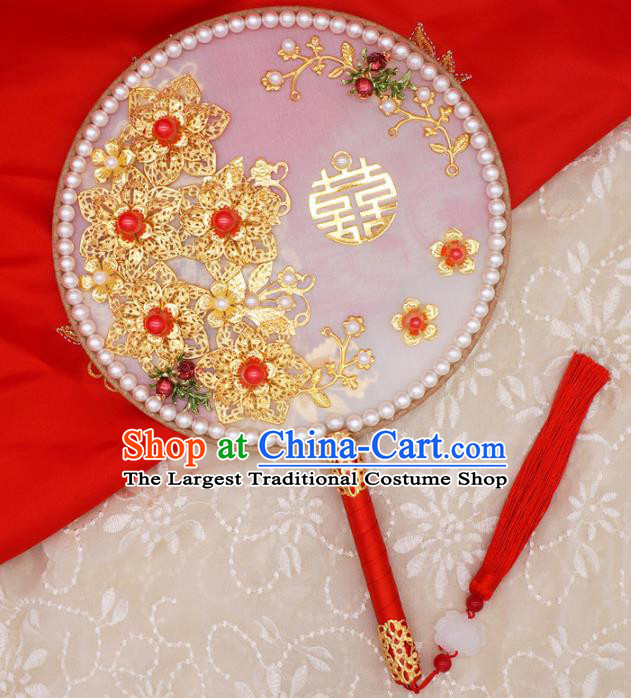 Chinese Traditional Handmade Hanfu Pearls Palace Fans Classical Wedding Silk Round Fan for Women
