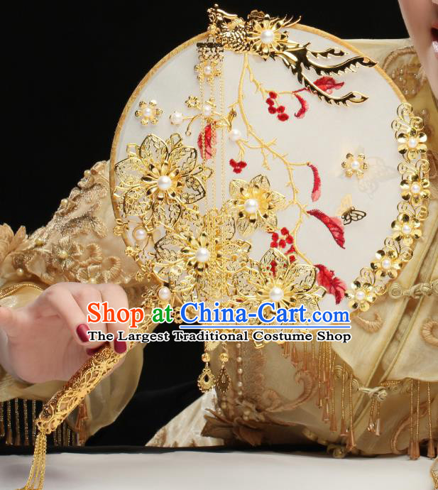 Chinese Traditional Handmade Hanfu Palace Fans Classical Wedding Silk Round Fan for Women