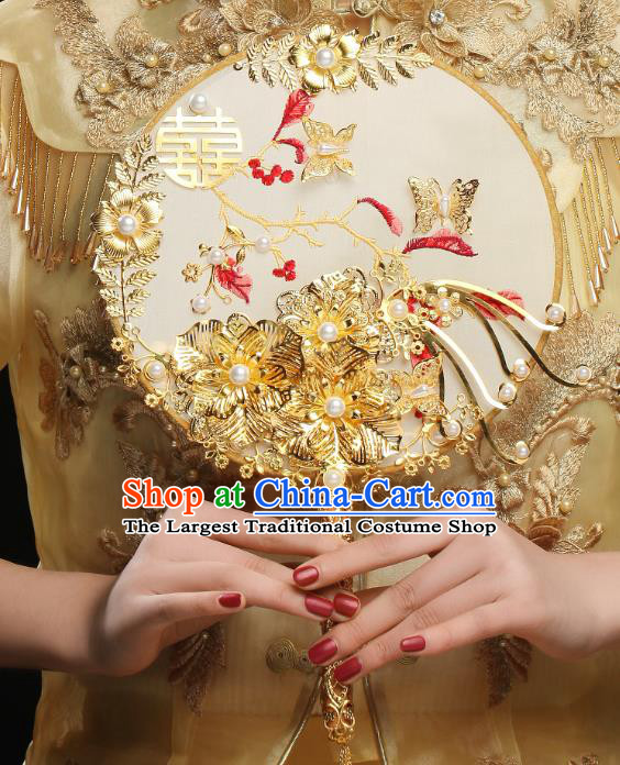 Chinese Traditional Handmade Palace Fans Classical Hanfu Wedding Silk Round Fan for Women