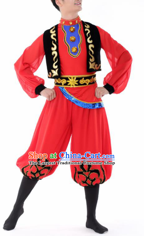 Chinese Traditional Uyghur Nationality Dance Red Clothing China Folk Dance Stage Performance Costume for Men