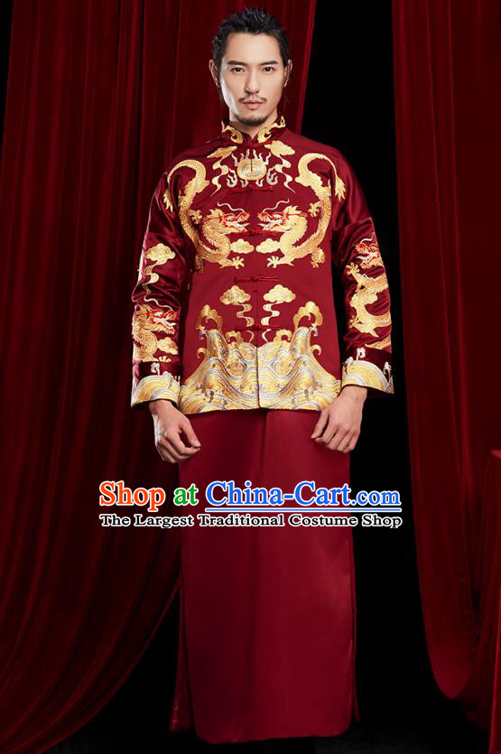 Chinese Traditional Embroidered Dark Red Mandarin Jacket and Robe Wedding Tang Suit Ancient Bridegroom Costume for Men