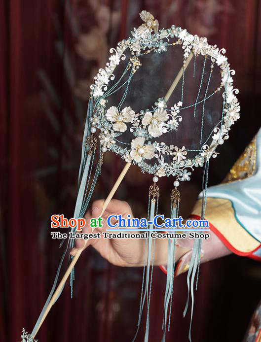 Chinese Traditional Blue Ribbon Palace Fans Handmade Classical Hanfu Wedding Silk Round Fan for Women