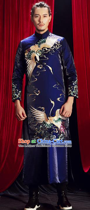 Chinese Traditional Embroidered Royalblue Mandarin Jacket and Robe Wedding Tang Suit Ancient Bridegroom Costume for Men