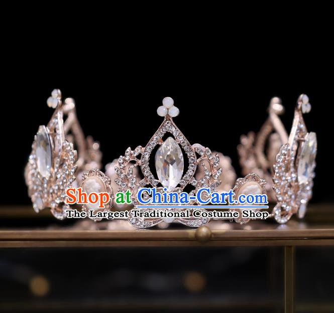 Top Grade Bride Baroque Crystal Round Royal Crown Wedding Hair Accessories for Women