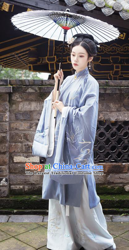 Chinese Traditional Ming Dynasty Hanfu Embroidered Dress Ancient Palace Princess Historical Costume for Women