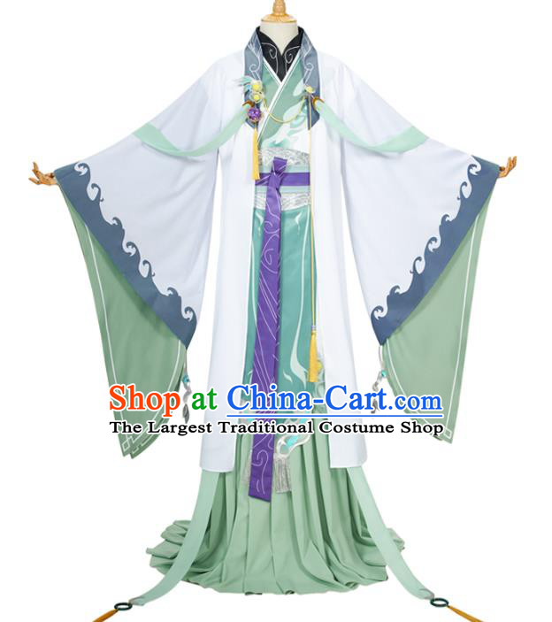 Traditional Chinese Cosplay Prince Knight Green Costume Ancient Swordsman Hanfu Clothing for Men