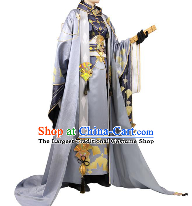Traditional Chinese Cosplay Royal Prince Grey Costume Ancient Swordsman Hanfu Clothing for Men