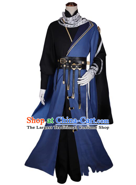Traditional Chinese Cosplay General Blue Costume Ancient Swordsman Hanfu Clothing for Men