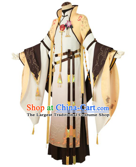 Traditional Chinese Cosplay Royal Highness Yellow Costume Ancient Swordsman Hanfu Clothing for Men