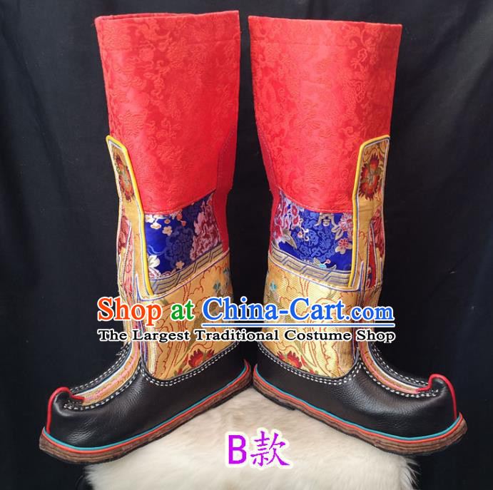 Handmade Chinese Zang Nationality Red Boots Traditional Tibetan Ethnic Shoes for Men