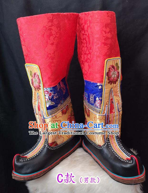 Handmade Chinese Zang Nationality Leather Boots Traditional Tibetan Ethnic Shoes for Men