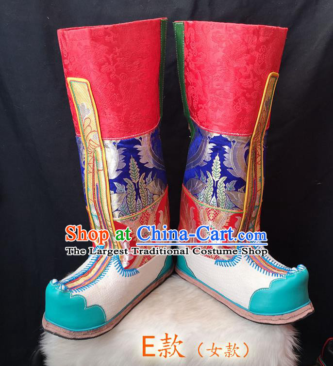 Handmade Chinese Zang Nationality Folk Dance Leather Boots Traditional Tibetan Ethnic Shoes for Women
