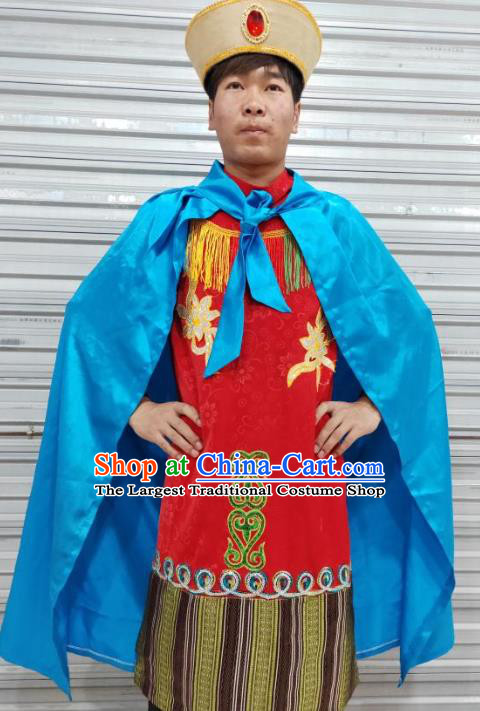 Chinese Zang Nationality Folk Dance Red Costumes Traditional Tibetan Ethnic Clothing for Men